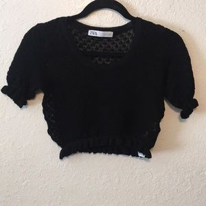 ZARA CROPPED BLACK BLOUSE SZ S